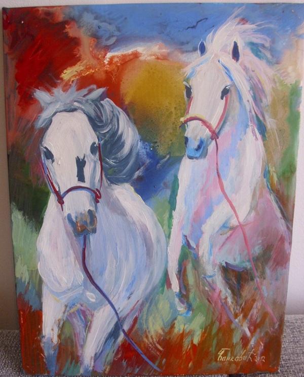 Konji beli 2, ulje na platnu, 40×30 cm, Goran Bankovic, 90 evra