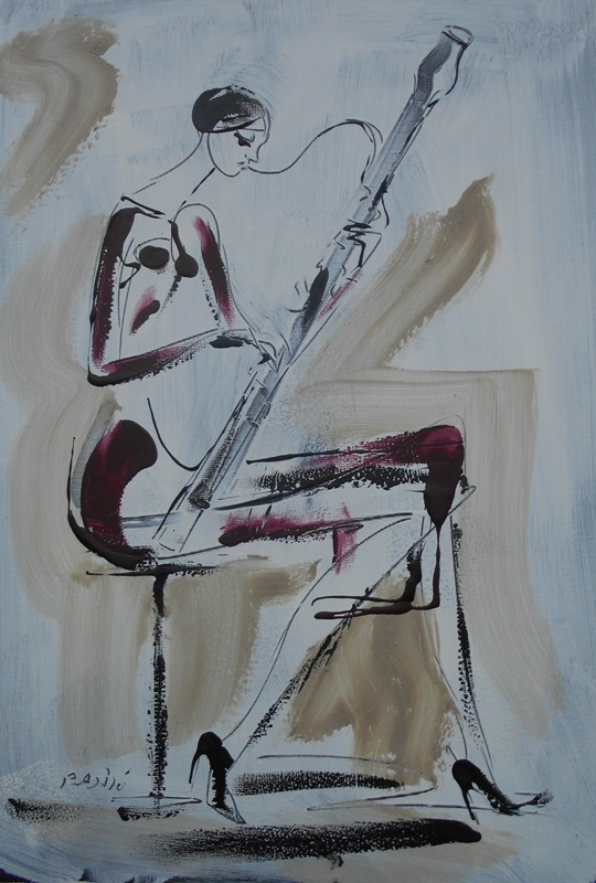 Fagot, akril na platnu, 50x35 cm, akademski Dusan Rajsic, sertifikat, 60 eura