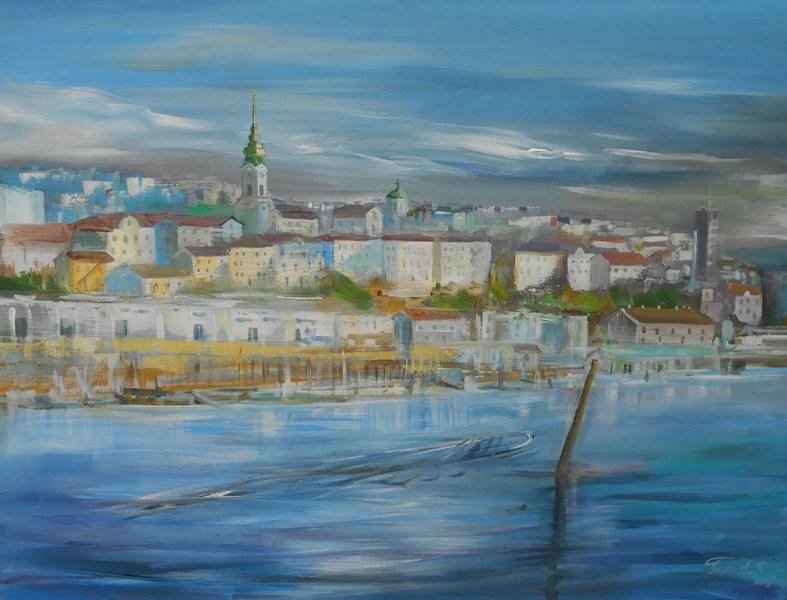 Beograd 6, ulje na platnu, 60x80 cm, sertifikat, akademski slikar Bankovic, 200 eura