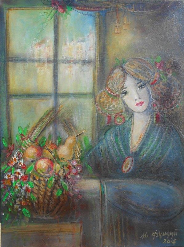 Devojka sa korpom, ulje na platnu, 80x60 cm, Momcilo Moma Fundup, sertifikat, 250 eura