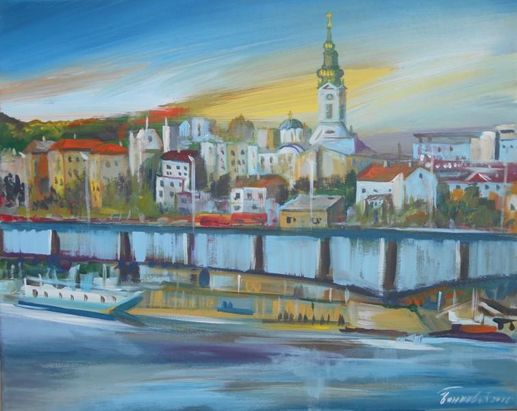 Pejzaz Beograd 1, ulje na platnu, 40x50 cm, sertifikat, akademski slikar Bankovic, 60 eura