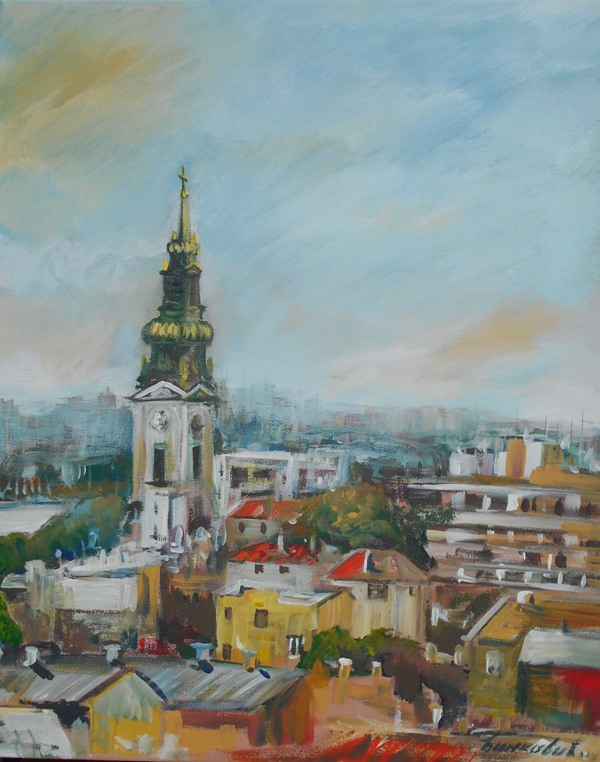 Pejzaz Beograd 2, ulje na platnu, 50x40 cm, sertifikat, akademski slikar Bankovic, 60 eura