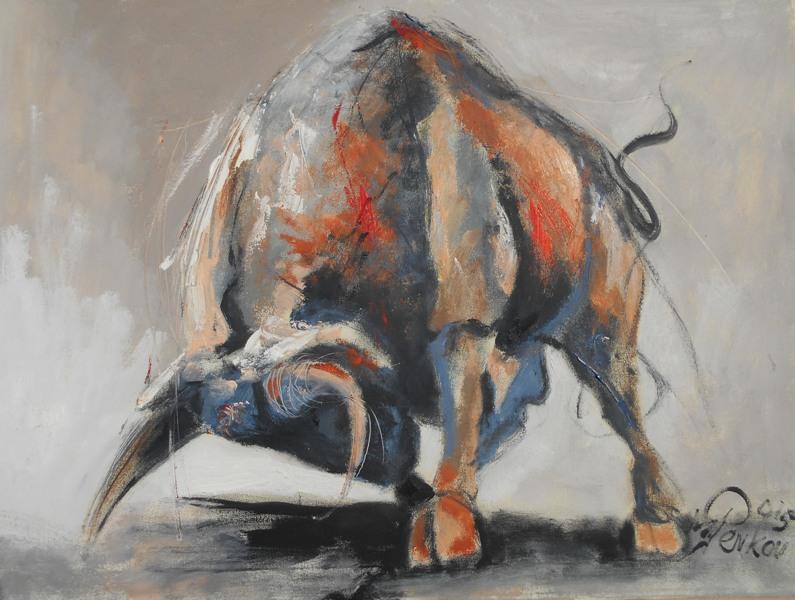 Divlji bik, ulje na platnu, 60x80 cm, akademski slikar M. Penkov, sertifikat, 300 eura