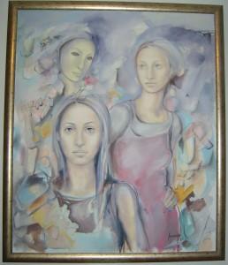 Devojke, ulje na platnu uramljena, Lavrnic Milica, 120 x 100 cm, 1000 evra