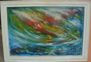 Apstrakcija, ulje na platnu, 73×48 cm, Rada Dobrijevic, 80 evra