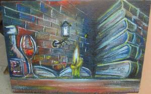 Knjige i sveca, ulje na platnu, 60×42 cm, Keleuva, 130 evra