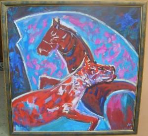 Konji, ulje na platnu uramljena, akademski Tatalovic, 100×100 cm, 500 evra
