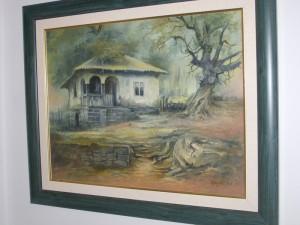 Stara kuća, akademski slikar Miodrag Janković, ulje na platnu, luxuzno uramljena, sa 62×72 cm, bez 50×60 cm, sertifikat, 500 evra
