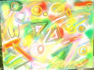 Apstrakcija 2, ulje na kartonu, 65×50 cm, Emil Thomas Slovenija, 300 evra