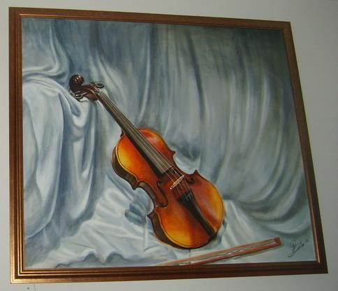 Violina, Ulje na platnu, uramljena, Akademski slikar Stojance Andonov, 70 x 80 cm, 500 evra