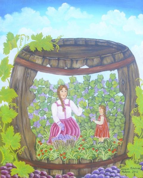 Berba grozdja, ulje na platnu, 50×40 cm, Biserka Petrasova, 200 eura