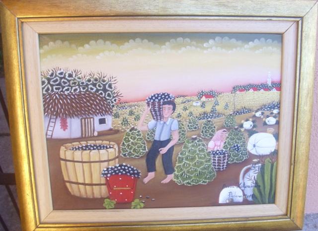 Grozdje, ulje na platnu, 30×40 cm, uramljena, Anna Kotvasova, 250 eura