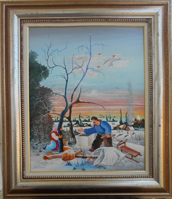 Sankanje, Juraj Lavros, naiva, ulje na platnu, sa 69×59 cm, bez 50×40 cm,  sertifikat, 500 eura