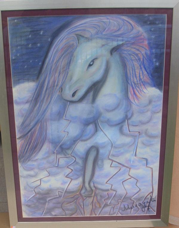 Nebeski konj, pastel, luksuzno uramljen, 70×50 cm, Miladic Svetlana, 200 evra