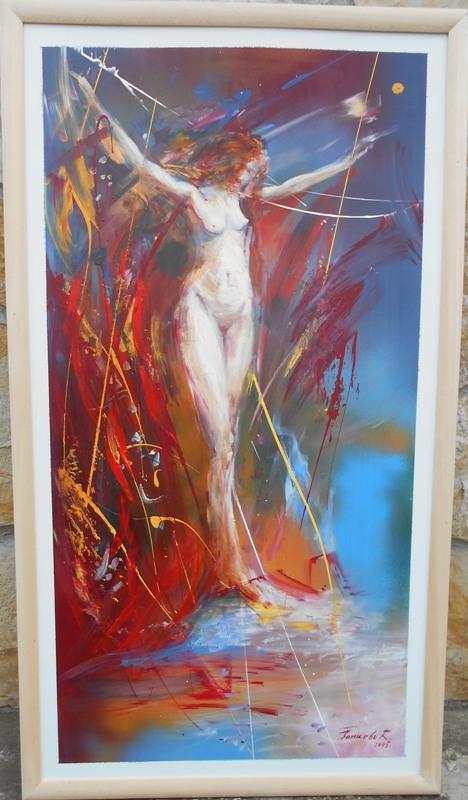 Akt u crvenom, ulje na lesonitu, 78x42 cm, akademski sl. Goran Bankovic, sertifikat, 150 eura