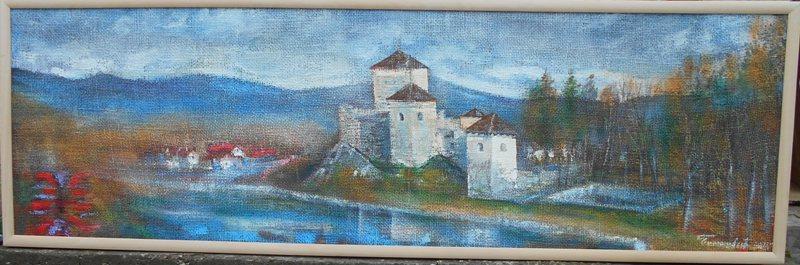Manastir 1, ulje na juti kasiranoj na lesonitu, 43×145 cm, akademski sl. Goran Bankovic, sertifikat,   300 eura