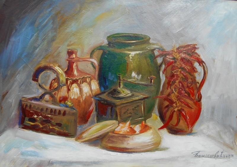 Stari predmeti, ulje na kartonu, 35×50 cm, akademski sl. Goran Bankovic, sertifikat, 50 eura