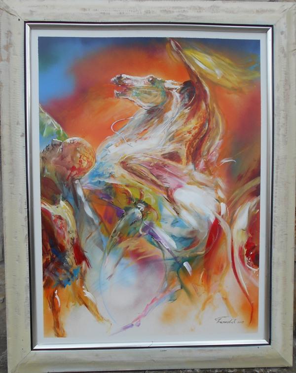 Vatreni konj, ulje na lesonitu, 80x60 cm, akademski sl. Goran Bankovic, sertifikat, 200 eura