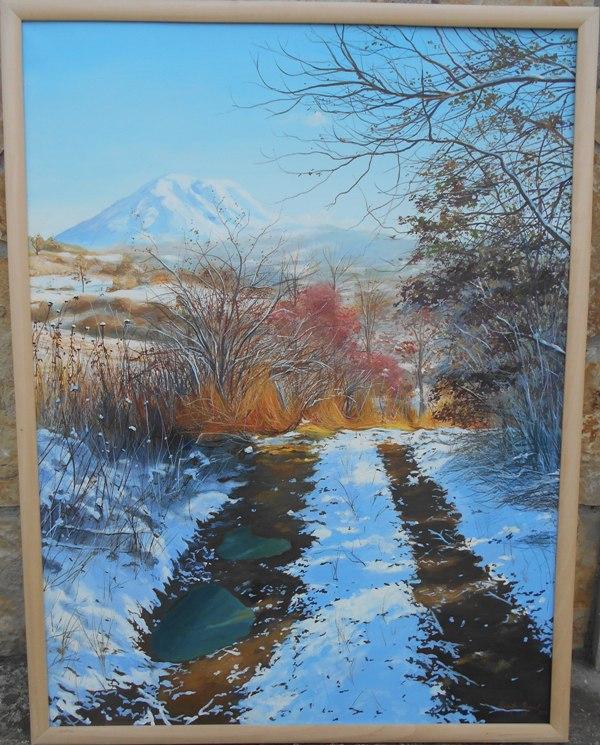 Zimski put, ulje na platnu, 80x60 cm, Marija Djukic, 200 eura