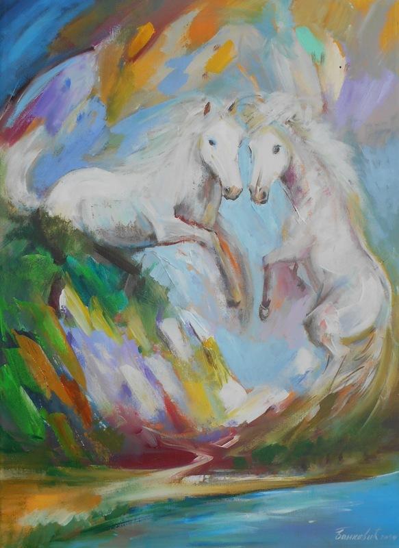 Dva bela konja, ulje na platnu, 70x50 cm, akademski sl. Goran Bankovic, 150 eura