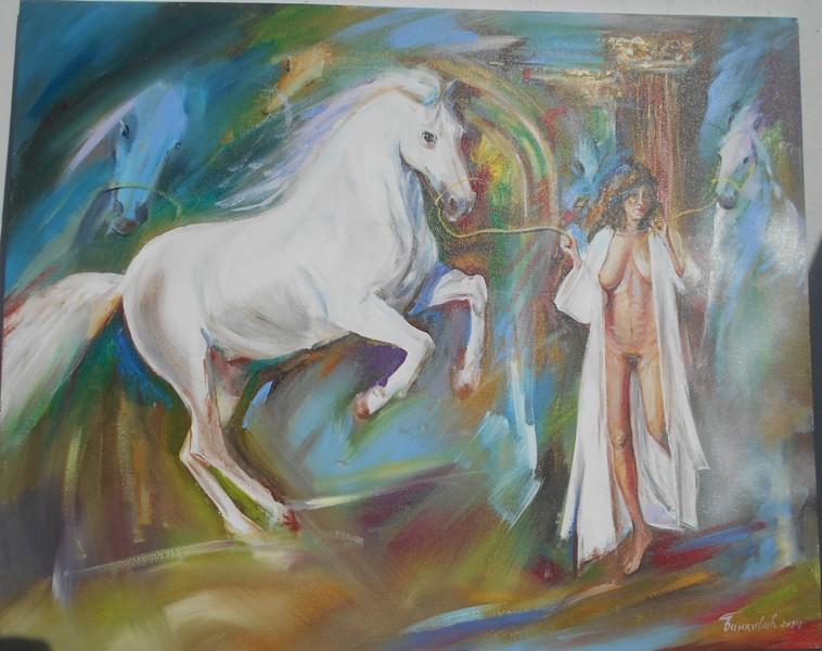 Konj i devojka, ulje na platnu, 80×66 cm, akademski sl. Goran Bankovic,  sertifikat, 200 eura