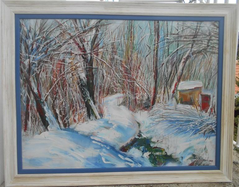 Zima, ulje na platnu, uramljena, sa 71×91 cm, bez 59×78 cm, akademski sl. Goran Bankovic, sertifikat, 250 eura