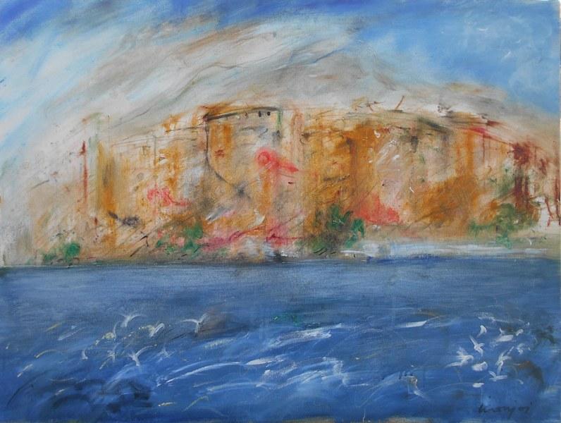 Kuce i more, ulje na platnu,60x80 cm, Novakovic Milivoje Kanjos, Kontakt