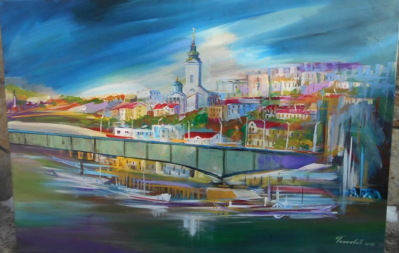 Beograd 3, ulje na platnu, 81x90 cm, sertifikat, akademski slikar Bankovic, 400 eura
