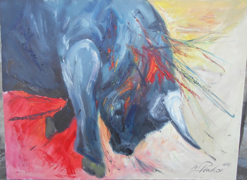 Bik u koridi, ulje na platnu, 60x80 cm, akademski slikar Penkov, 300 evra