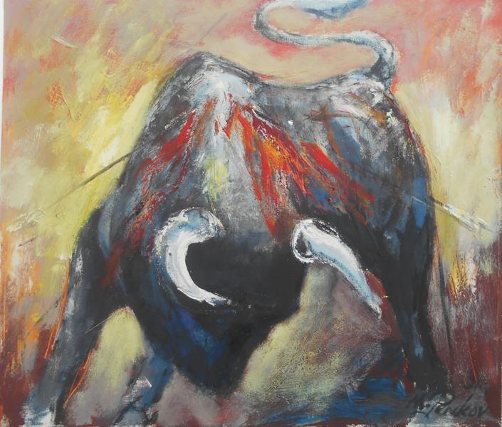 Bik u borbi, ulje na platnu, 60x70 cm, akademski slikar Penkov, 300 evra