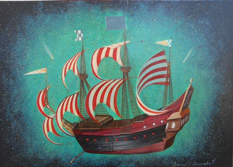 Crveno beli jedrenjak, ulje na platnu, 50x70 cm, prof. FLU Nenad Stankovic, 500 eur