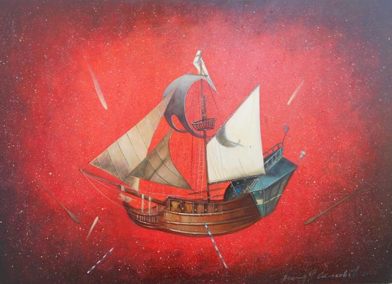 Jedrenjak u vatrenim prostorima, ulje na platnu, 50×70 cm, prof. FLU Nenad Stankovic, 500 eur