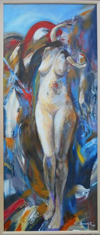 Zenski akt 2, ulje na platnu, 137×57 cm, akademski sl. Goran Bankovic, sertifikat,   300 eura