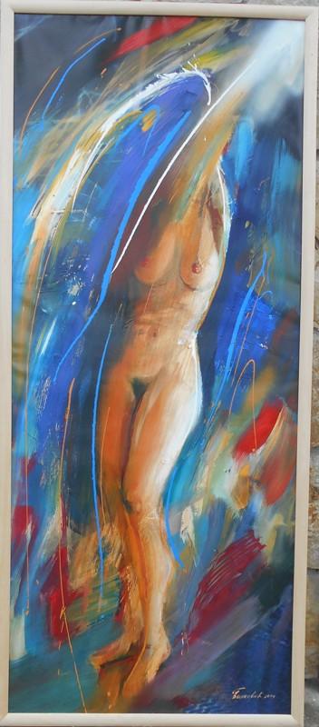 Zenski akt, ulje na platnu, 120×50 cm, akademski sl. Goran Bankovic, sertifikat,   300 eura