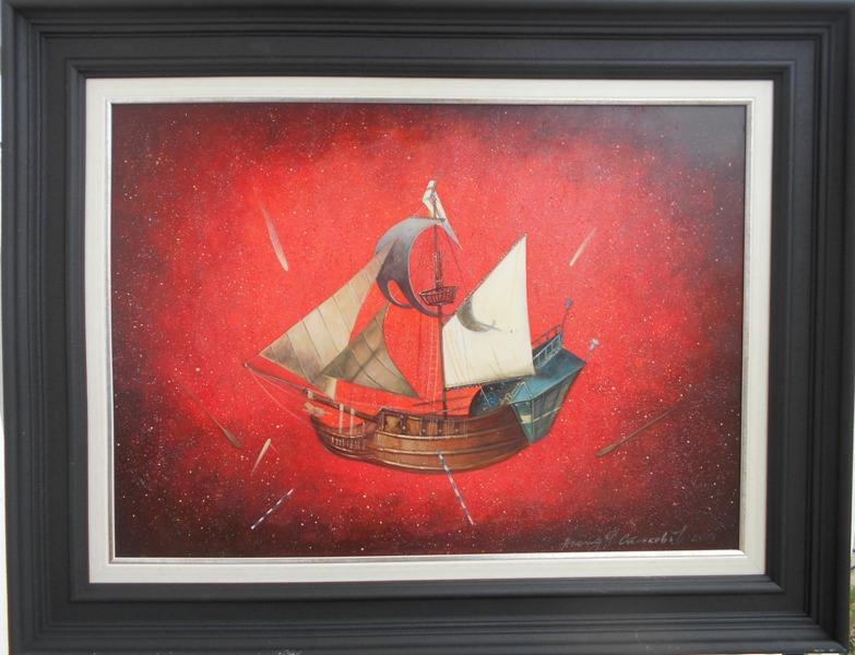 Jedrenjak u vatrenim prostorima, prof. FLU Nenad Stankovic, ulje na platnu, sa 69×89 cm, bez 50×70 cm, sertifikat, 500 eur