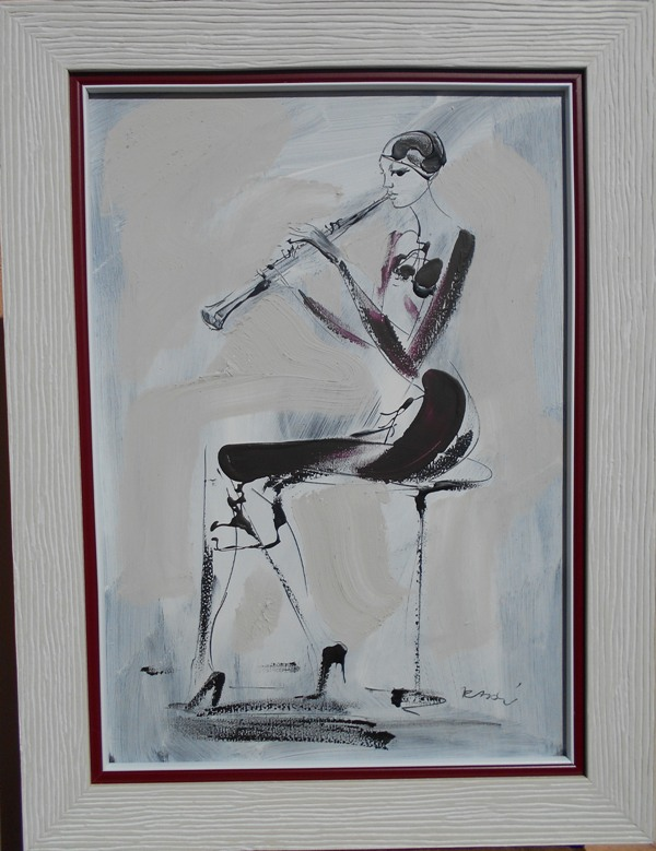 Oboa, Dusan Rajsic, akril na platnu, bez 50x35 cm, sa 62x47 cm, sertifikat, 80 eura