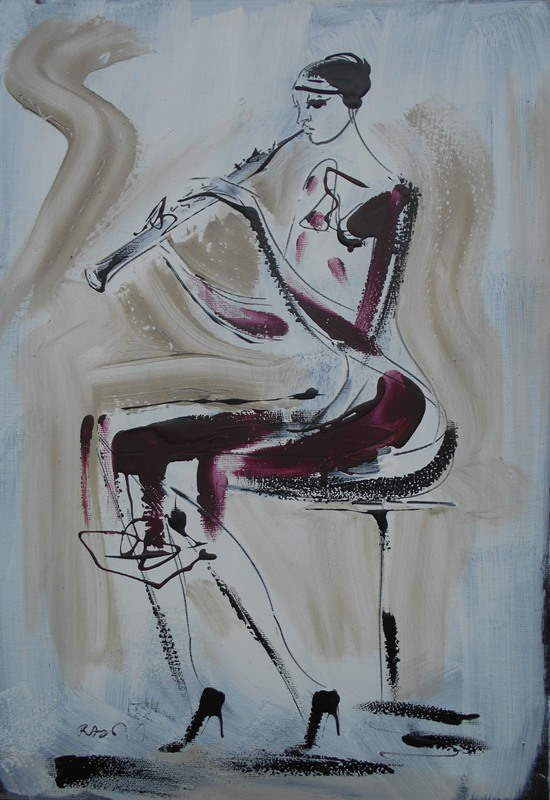 Oboa, akril na platnu, 50x35 cm, akademski Dusan Rajsic, sertifikat, 60 eura