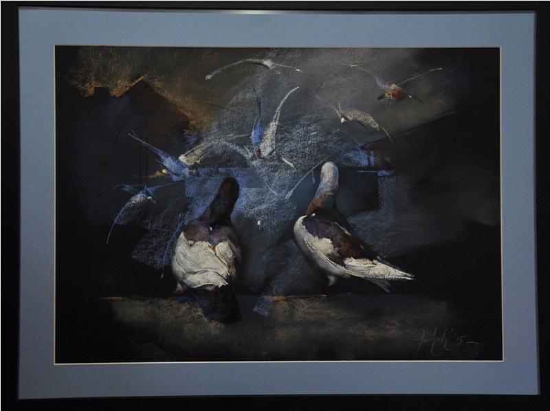 Golubovi u oluji, pastel uramljen, bez 50x70 cm, sa 65x85 cm, akademski Braca Djurkovic, sertifikat, 300 eura