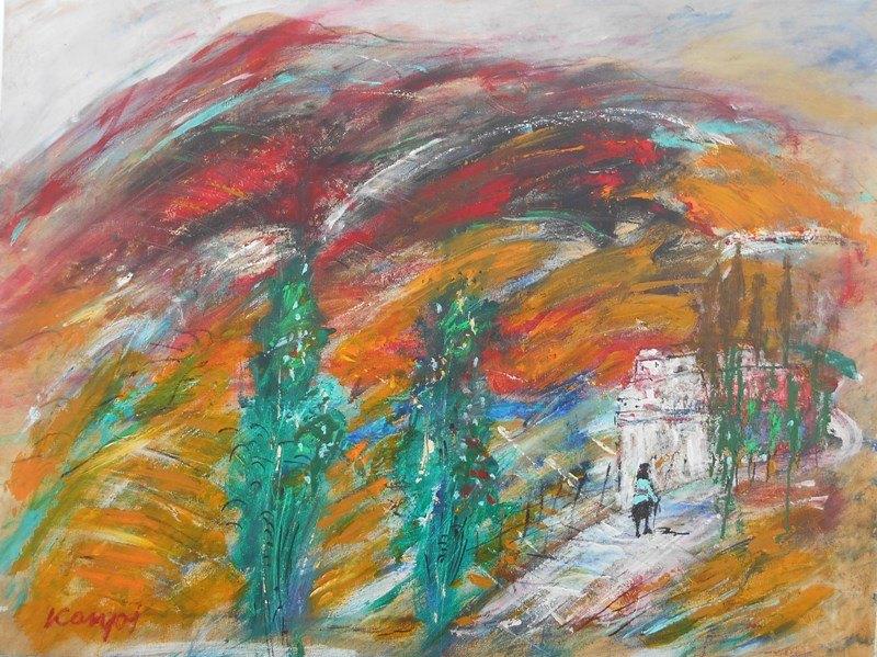 Suncani pejzaz, ulje na platnu, 60x80 cm, Novakovic Milivoje Kanjos, 400 eur