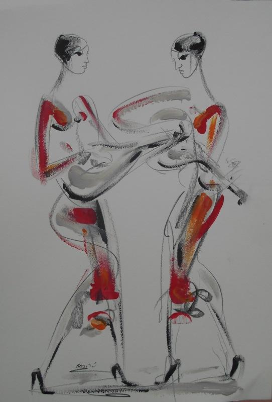 Zicani duet, crtez na papiru, 50x35 cm, akademski Dusan Rajsic, sertifikat, 40 eura
