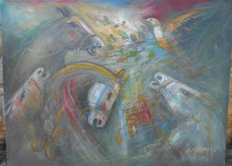 Konji, ulje na platnu, 60x80 cm, Momcilo Moma Fundup, sertifikat, 250 eura