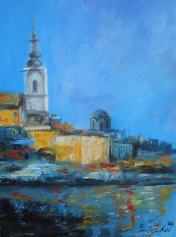 Beograd 1, ulje na platnu, 80x60 cm, akademski slikar M. Penkov, sertifikat, 300 eura