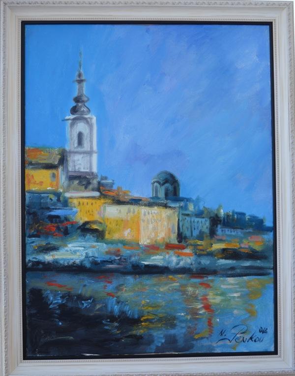 Beograd 1, ulje na platnu, sa 91×71 cm, bez 80×60 cm, akademski slikar M. Penkov, sertifikat, 350 eura