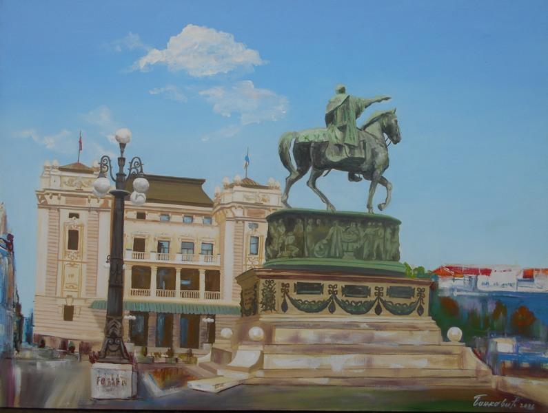 Beograd 8, ulje na platnu, 60x80 cm, sertifikat, akademski slikar Bankovic, 200 eura