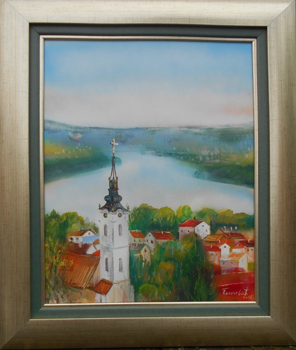Pejzaz Zemuna Gardos 1, ulje na platnu, uramljena, bez 50x40 cm, sa 66x56 cm, sertifikat, akademski slikar Bankovic, 80 eura