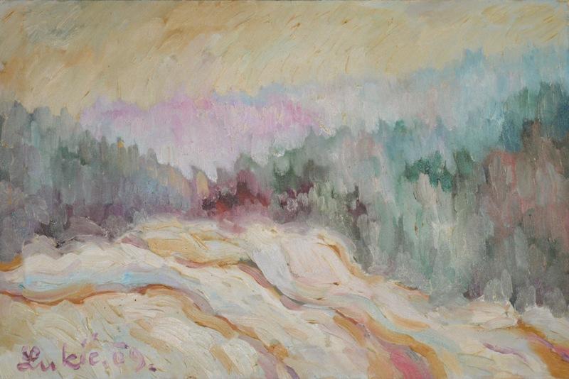 Zimski pejzaz, ulje na platnu, 39x59 cm, 2009., slikar Milan Lukic, 100 eura