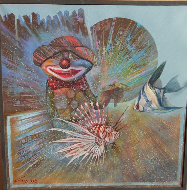 Akvarijum zelja, ulje na platnu, 100×100 cm, Ivan Vanja Milanovic. 700 evra