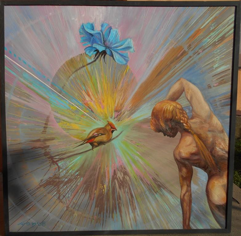 Cvrkut, ulje na platnu, 100x100 cm, Ivan Vanja Milanovic. 600 evra