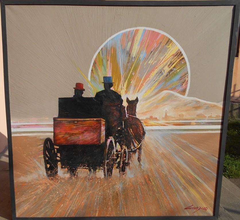 Daleko je sunce srece, ulje na platnu, 100x100 cm, Ivan Vanja Milanovic. 1000 evra