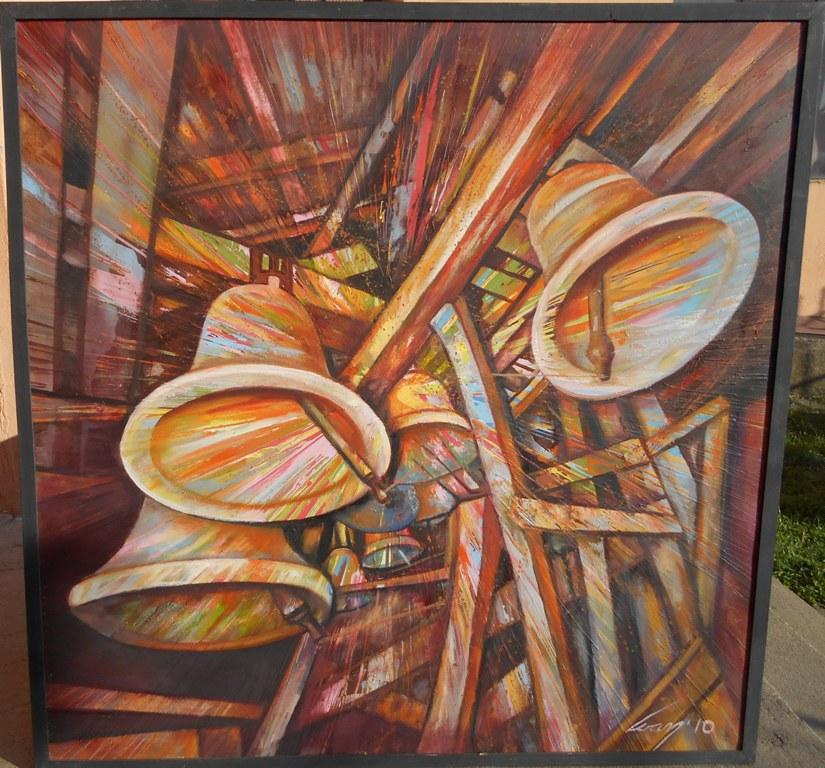 Hilandarska zvona, ulje na platnu, 100x100 cm, Ivan Vanja Milanovic. 1000 evra